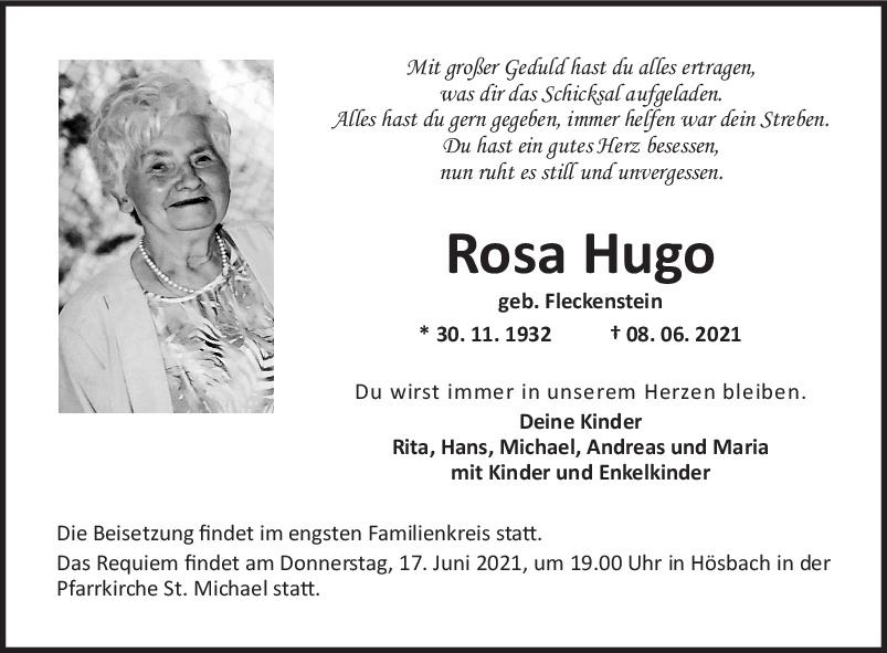 Traueranzeige von  Rosa Hugo