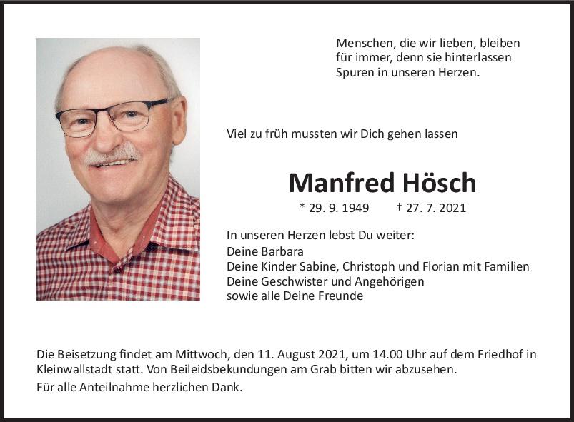 Traueranzeige von  Manfred Hösch