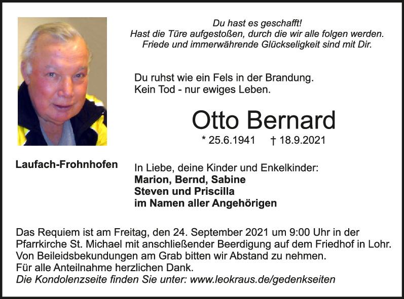 Traueranzeige von  Otto Bernard